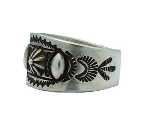 Edison Sandy Smith, Ring, Bump Outs, Stamping, Silver, Navajo Handmade, 11