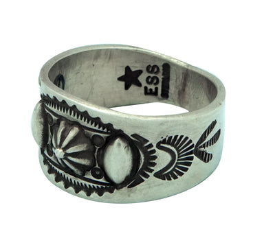 Load image into Gallery viewer, Edison Sandy Smith, Ring, Bump Outs, Stamping, Silver, Navajo Handmade, 11