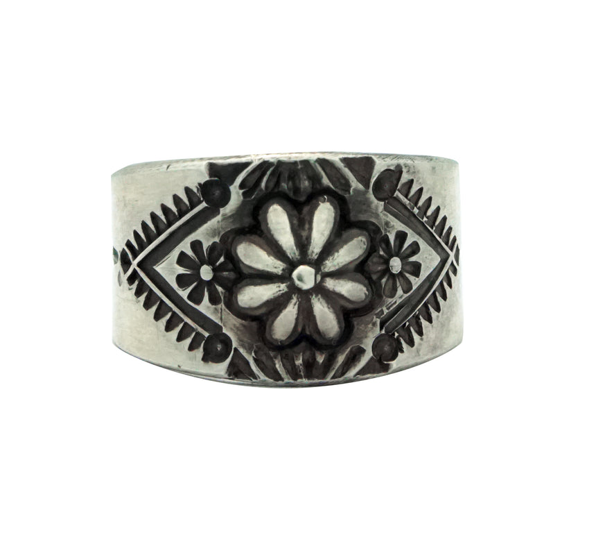 Edison Sandy Smith, Ring, Bump Out, Stamping, Silver, Navajo Handmade, 8