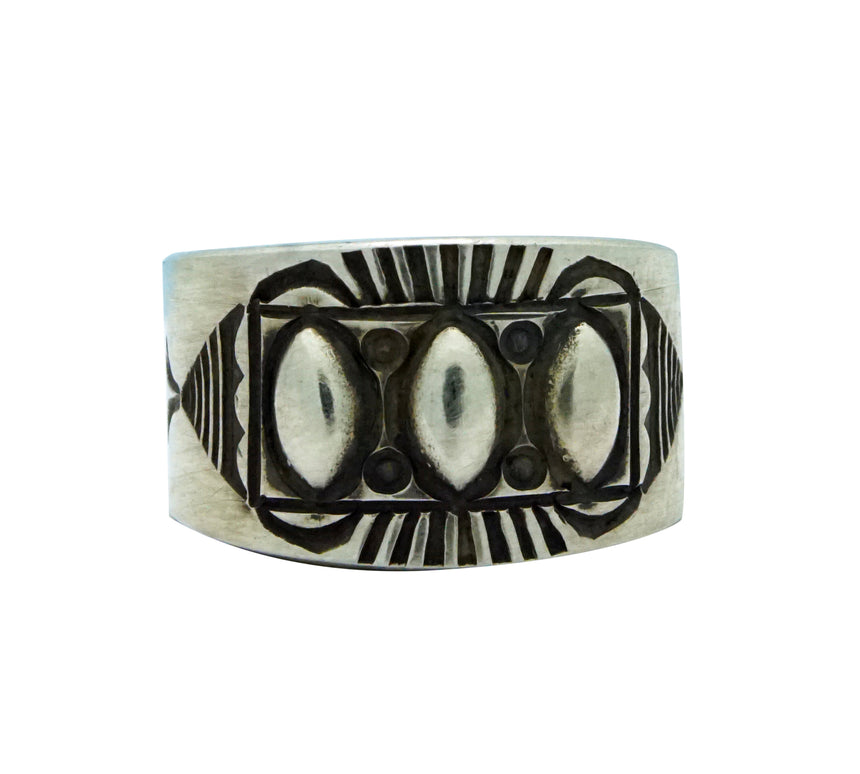 Edison Sandy Smith, Ring, Marquee Bump Outs, Stamping, Navajo Handmade, 7