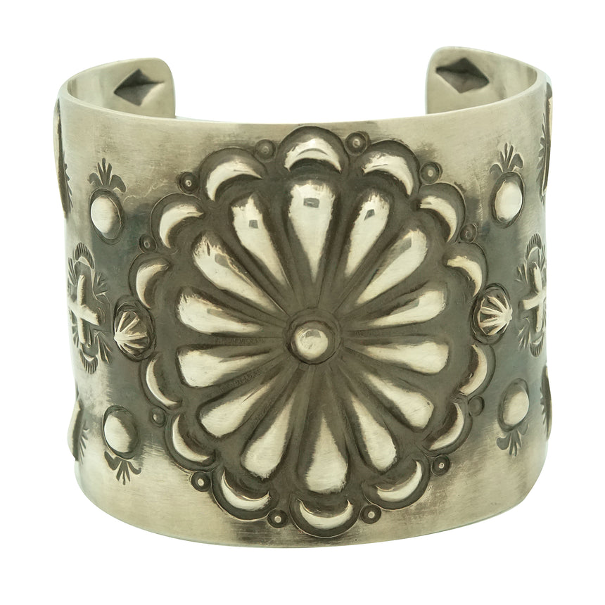 Elvira Bill, Bracelet, Brushed Finish, Sterling Silver, Navajo Handmade, 7 3/8