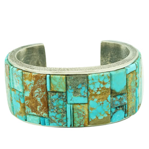 Lester James, Bracelet, Nevada, Arizona Turquoise, Inlay, Navajo Handmade, 7""