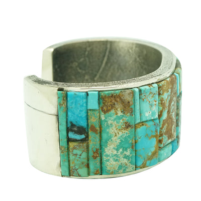 Load image into Gallery viewer, Lester James, Bracelet, Nevada, Arizona Turquoise, Inlay, Navajo Handmade, 7""