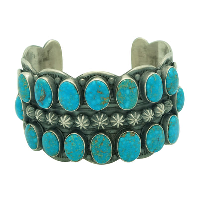 Load image into Gallery viewer, Delbert Gordon, Bracelet, Golden Rose Turquoise, Silver, Navajo Handmade, 7""