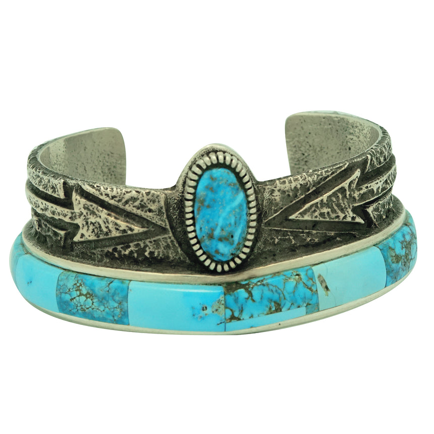 Lester James, Bracelet, Arizona Turquoise, Arrows, Tufa, Navajo Handmade, 6 3/4