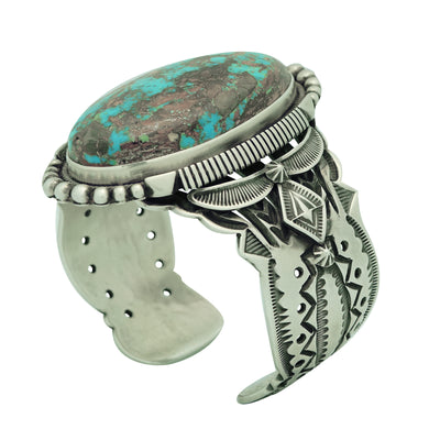 Load image into Gallery viewer, Aaron Toadlena, Bracelet, Stone Mountain Turquoise, Navajo Handmade, 6 5/8""