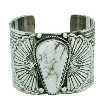 Load image into Gallery viewer, Sunshine Reeves, Bracelet, White Buffalo, Silver, Navajo Handmade, 6 3/4""