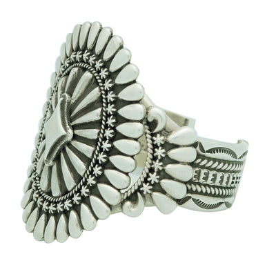 Load image into Gallery viewer, Thomas Jim, Bracelet, Large Cluster, Sterling Silver, Navajo Handmade, 6 7/8""