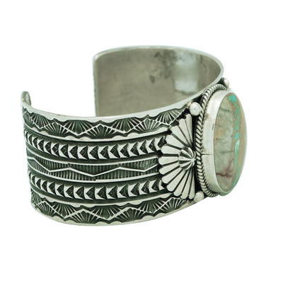Load image into Gallery viewer, Sunshine Reeves, Bracelet, Boulder Turquoise, Stamping, Navajo Handmade, 6 7/8""
