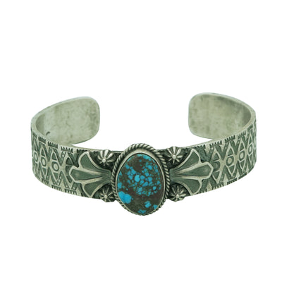 Load image into Gallery viewer, Bo Reeves, Bracelet, Apache Blue Turquoise, Sterling Silver, Navajo Made, 6 5/8""