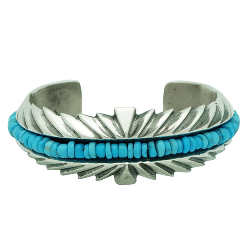Aaron Anderson, Bracelet, Turquoise Beads, Silver, Navajo Handmade, 6 1/4