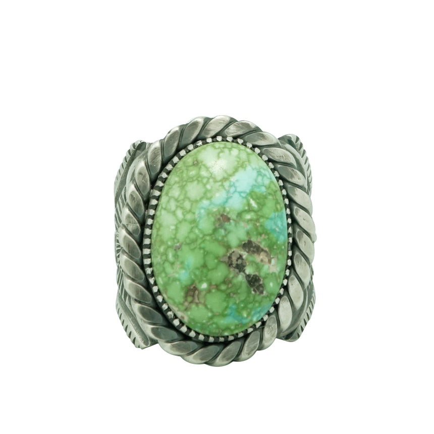 Delbert Gordon, Ring, Sonoran Gold Turquoise, Heavy Silver, Navajo Made, 13