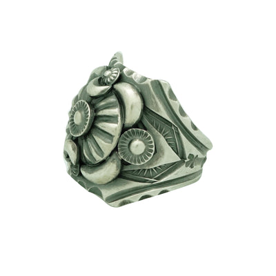 Load image into Gallery viewer, Delbert Gordon, Ring, Stamping, Sterling Silver, Navajo Handmade, 13 ½