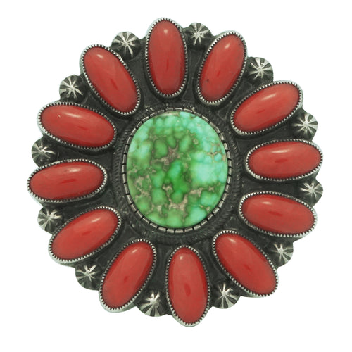Calvin Martinez, Ring, Sonoran Gold Turquoise, Coral, Cluster, Navajo, 8 ¼