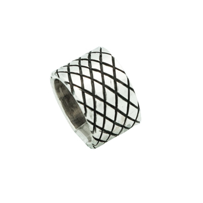 Load image into Gallery viewer, Aaron Anderson, Ring, Tufa Cast, Carved, Silversmith, Navajo Made, 5 1/2