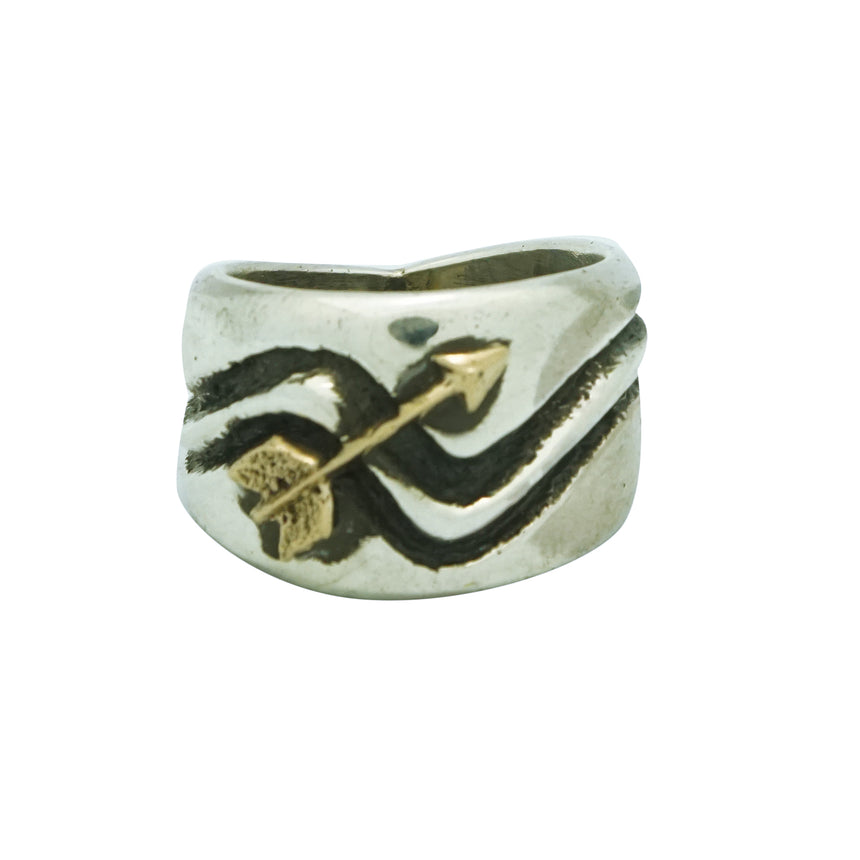 Aaron Anderson, Ring, Arrow, 14k Gold, Sterling Silver, Navajo Made, 11 ½