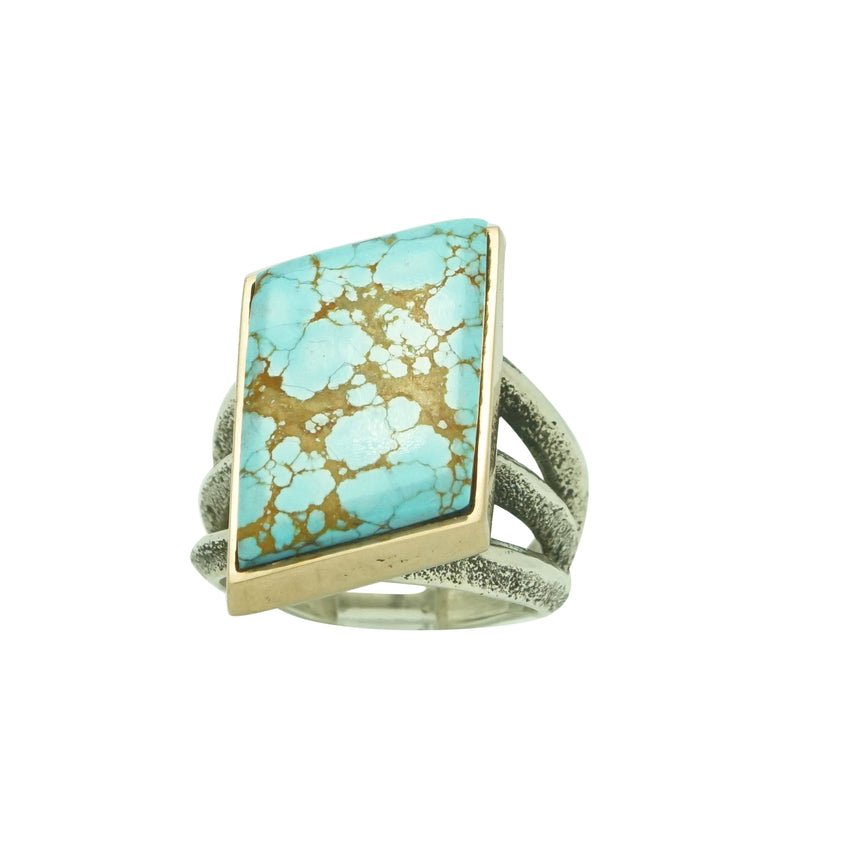 Aaron Anderson, Ring, 14k Gold, Silver, Number Eight Turquoise, Navajo, 9