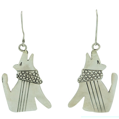 Load image into Gallery viewer, Melvin Francis, Pierced Earrings, Silver, Howling Coyote, Navajo Made, 2 1/2""