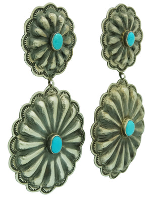 Load image into Gallery viewer, Rita Lee, Dangle Earrings, Double Concho, Turquoise, Navajo Handmade, 3 3/8""