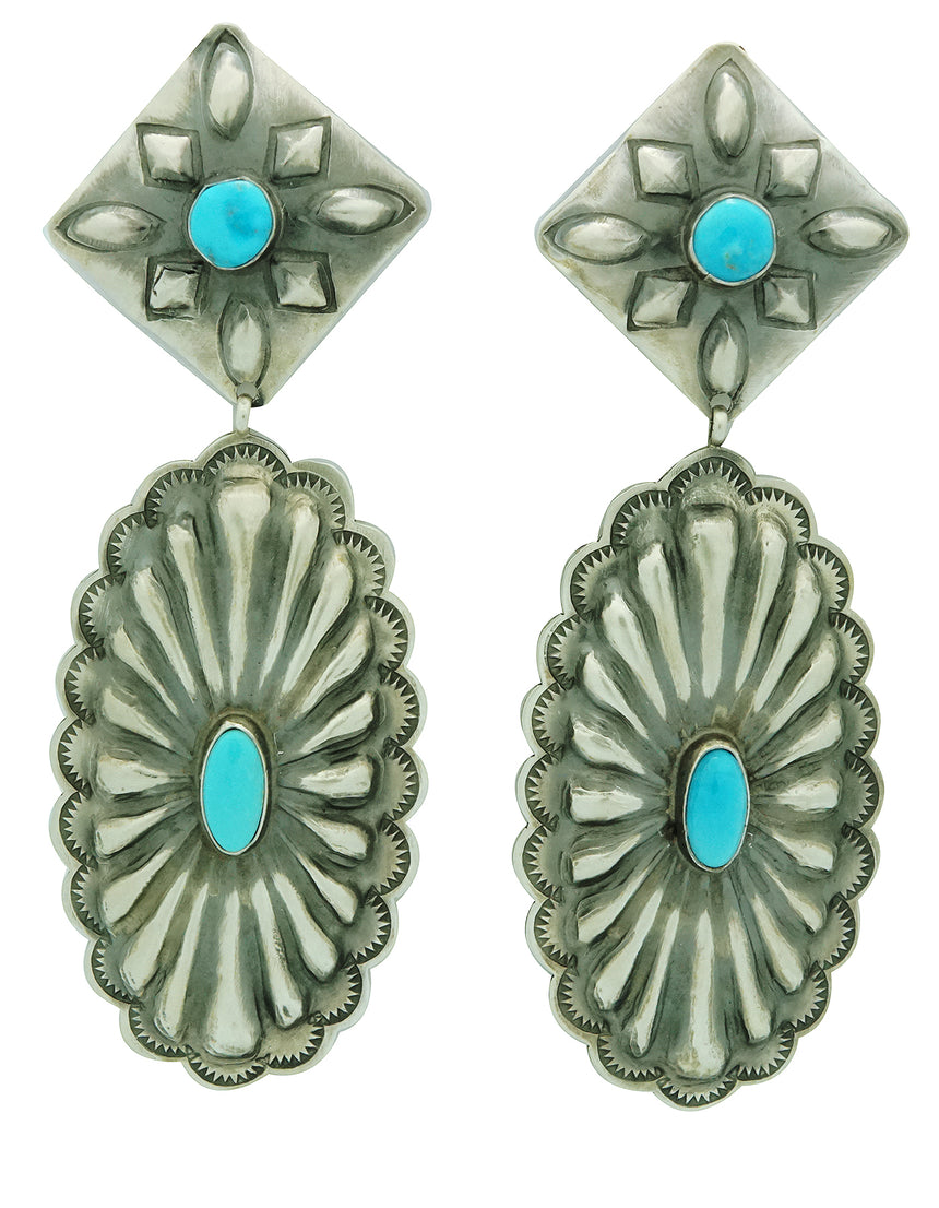 Rita Lee, Dangle Earrings, Pierced, Turquoise, Silver, Navajo Handmade, 4
