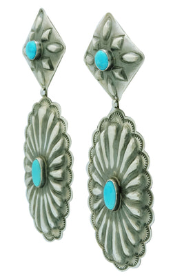 Load image into Gallery viewer, Rita Lee, Dangle Earrings, Pierced, Turquoise, Silver, Navajo Handmade, 4""