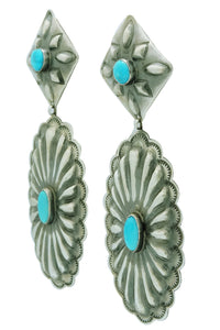 Rita Lee, Dangle Earrings, Pierced, Turquoise, Silver, Navajo Handmade, 4""