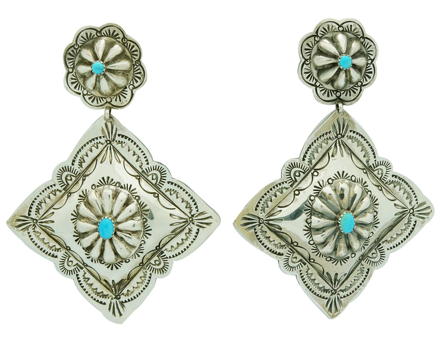 Rita Lee, Earrings, Dangles, Diamond Design, Turquoise, Navajo Handmade, 3 7/8