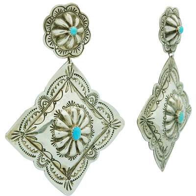 Load image into Gallery viewer, Rita Lee, Earrings, Dangles, Diamond Design, Turquoise, Navajo Handmade, 3 7/8""