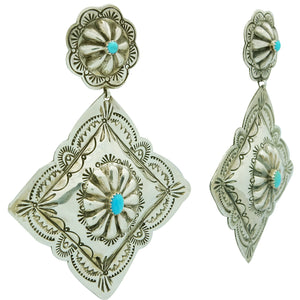 Rita Lee, Earrings, Dangles, Diamond Design, Turquoise, Navajo Handmade, 3 7/8""