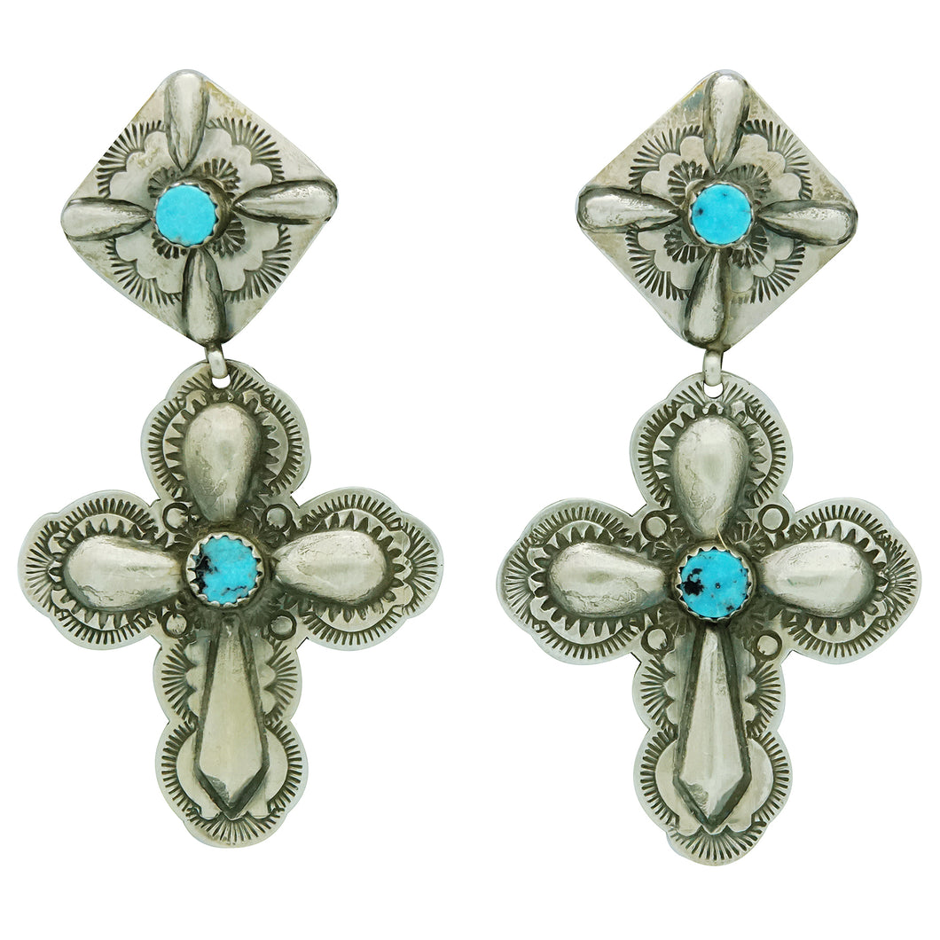 Glenn Livingston, Earrings, Dangles, Turquoise Cross, Navajo Handmade, 2 3/4