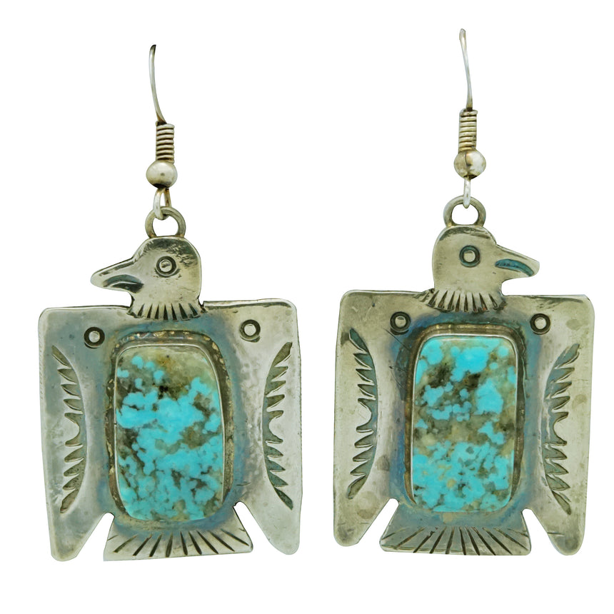 Fred Begay, Earrings, Eagle, Kingman Turquoise, Silver, Navajo Handmade, 2 1/8