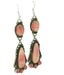 Lee Brown, Pierced Earrings, Red Spiny Oyster, Silver, Navajo Handmade, 3 1/2""