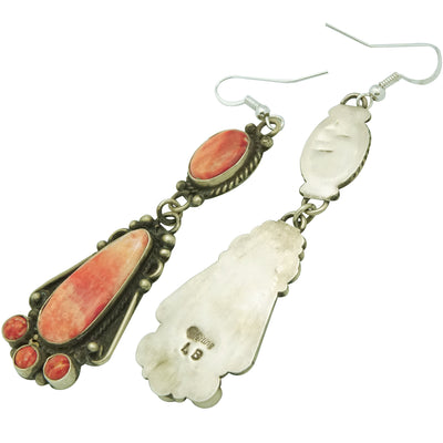 Load image into Gallery viewer, Lee Brown, Pierced Earrings, Red Spiny Oyster, Silver, Navajo Handmade, 3 1/2""