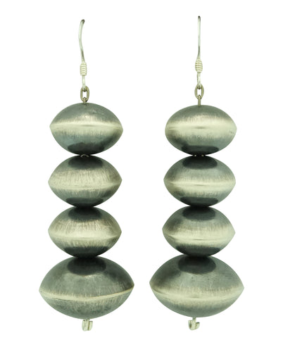 Tonisha Haley, Earrings, Silver Beads, Brushed Finish, Navajo Handmade, 2 1/2
