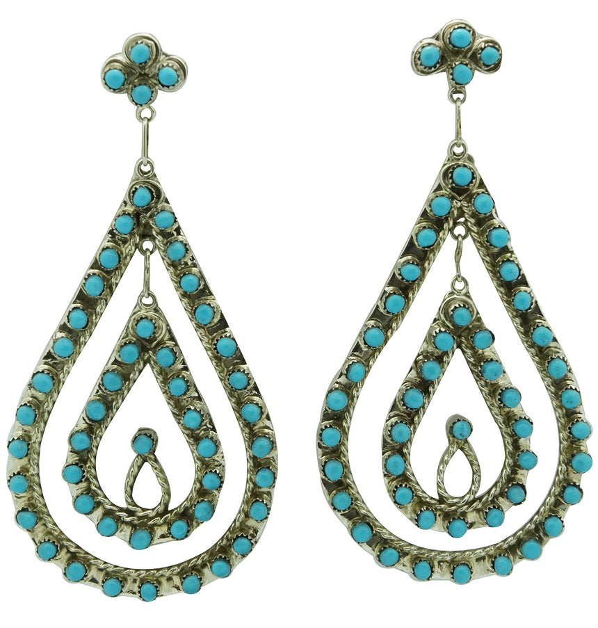 Wayne Johnson Jr, Earrings, Sleeping Beauty Turquoise, Dangles, Zuni, 3 1/8