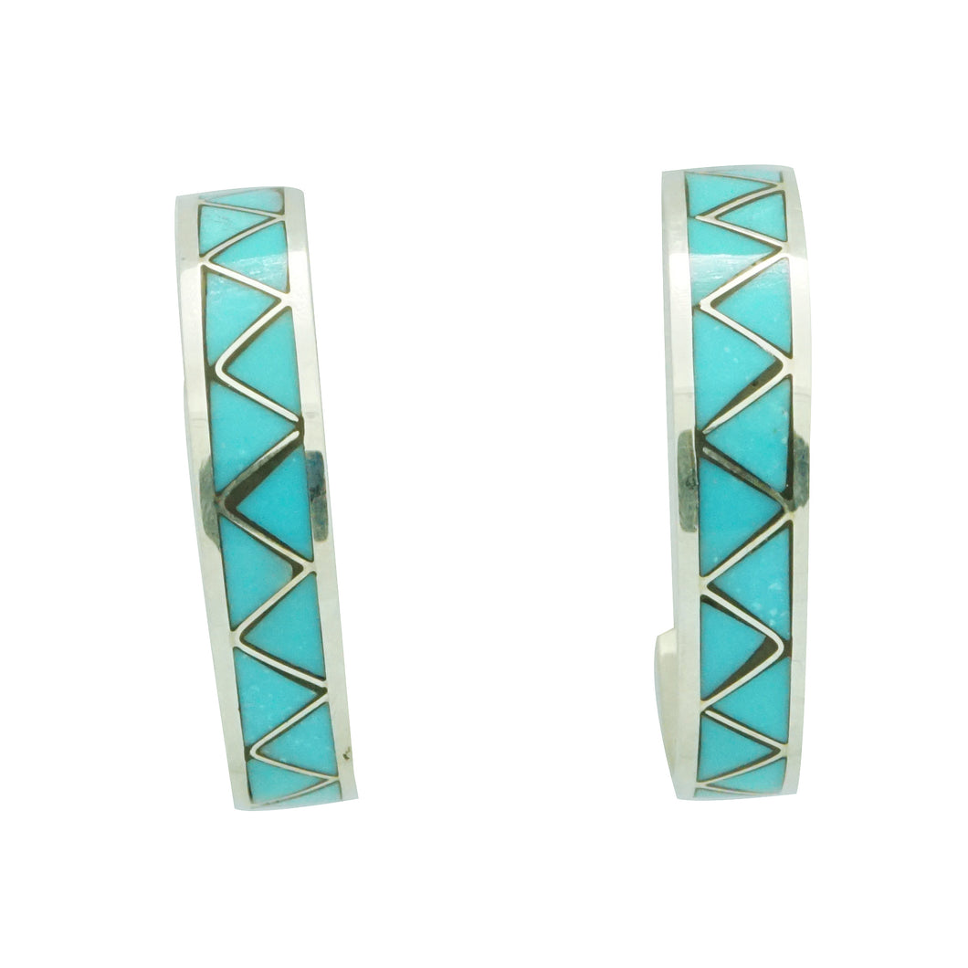 Claudine Haloo, Hoop Earrings, Silver, Turquoise, Zuni Handmade, 1 1/8