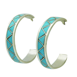 "Claudine Haloo, Hoop Earrings, Silver, Turquoise, Zuni Handmade, 1 1/8"" Diameter"