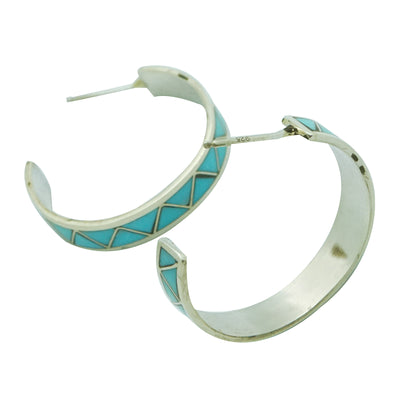 "Load image into Gallery viewer, Claudine Haloo, Hoop Earrings, Silver, Turquoise, Zuni Handmade, 1 1/8"" Diameter"