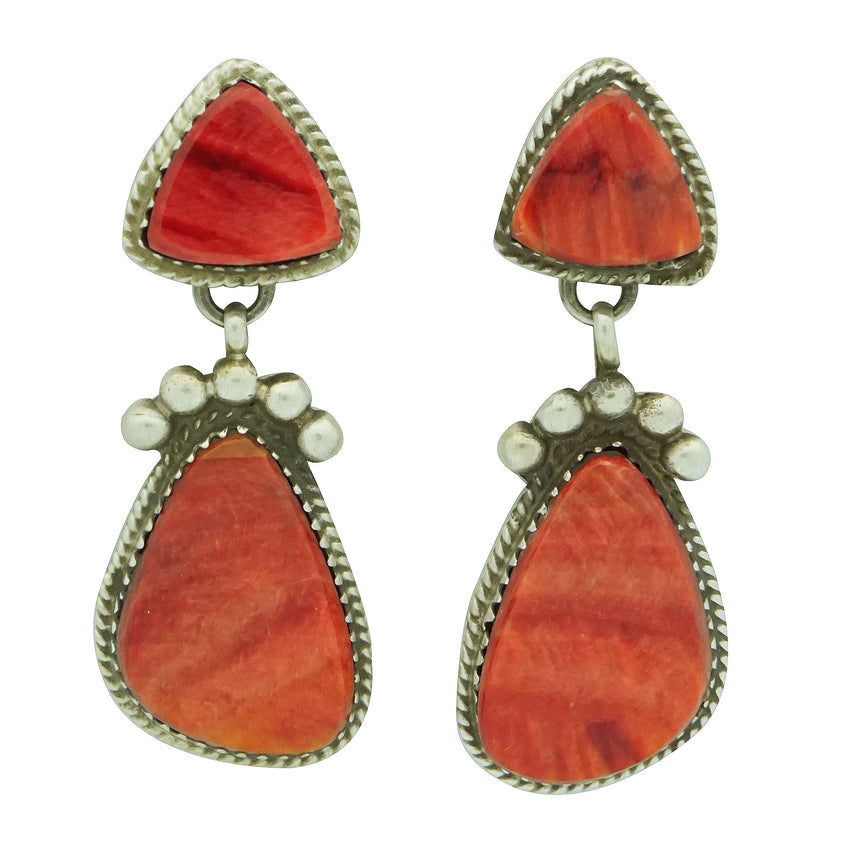 Selena Warner, Earrings, Double Red Spiny Oyster Shell, Navajo Made, 1 7/8