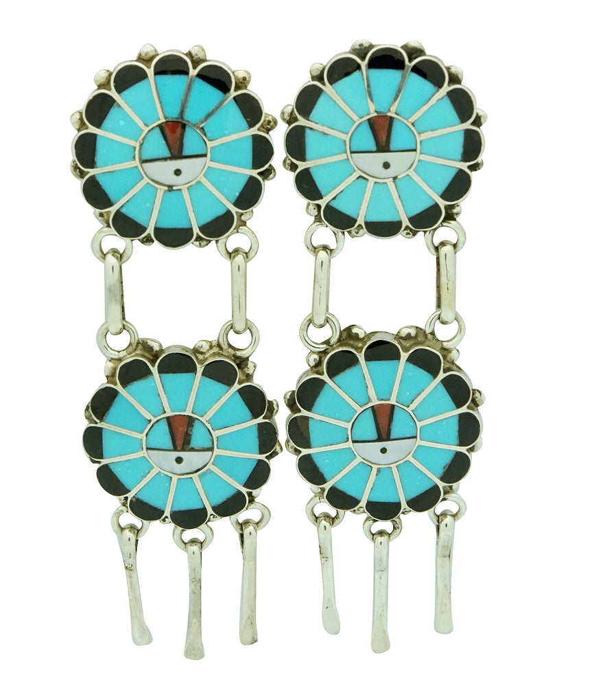 Delbert Soseeah, Earring, Double Sunface, Multi Stone Inlay, Zuni Made, 2 3/4