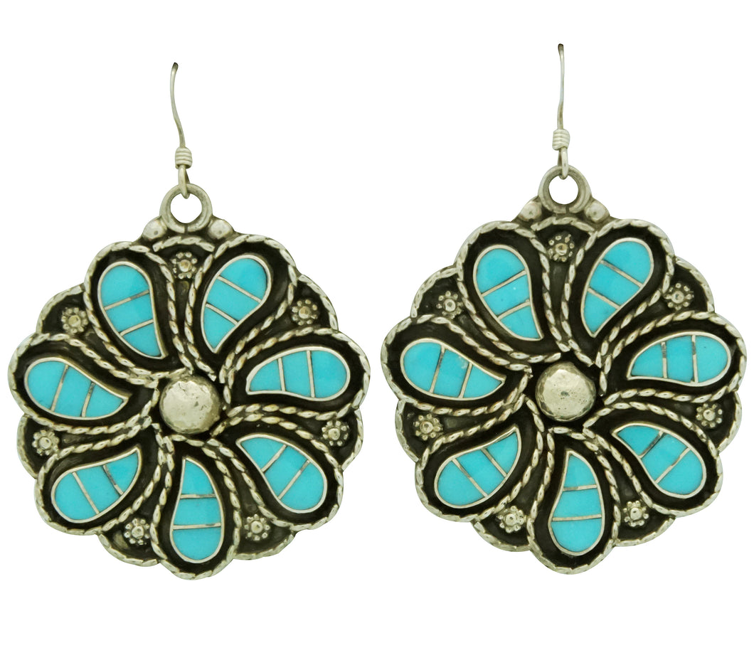 Faye Lowsayatee, Earrings, Inlay, Sleeping Beauty Turquoise, Zuni Made, 2 1/8