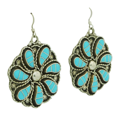 Load image into Gallery viewer, Faye Lowsayatee, Earrings, Inlay, Sleeping Beauty Turquoise, Zuni Made, 2 1/8""