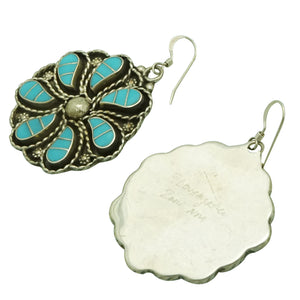 Faye Lowsayatee, Earrings, Inlay, Sleeping Beauty Turquoise, Zuni Made, 2 1/8""