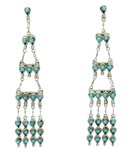Waylon Johnson, Earrings, Sleeping Beauty Turquoise, Chandelier, Zuni, 3 1/2