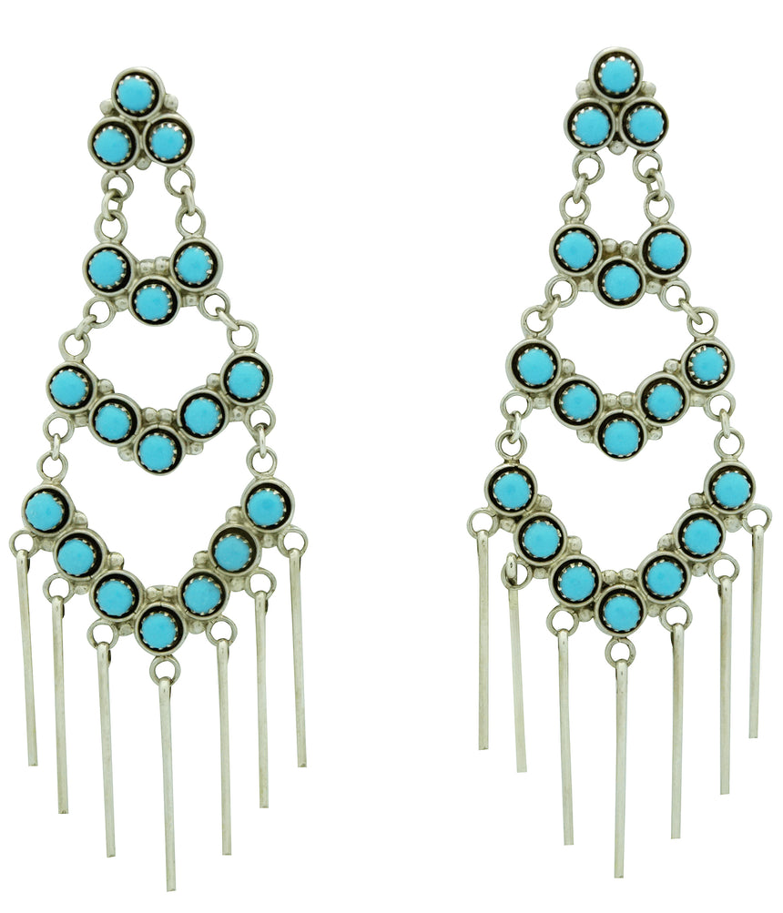Dixie Booqua, Dangle Earrings, Sleeping Beauty Turquoise, Zuni Handmade, 3 1/8