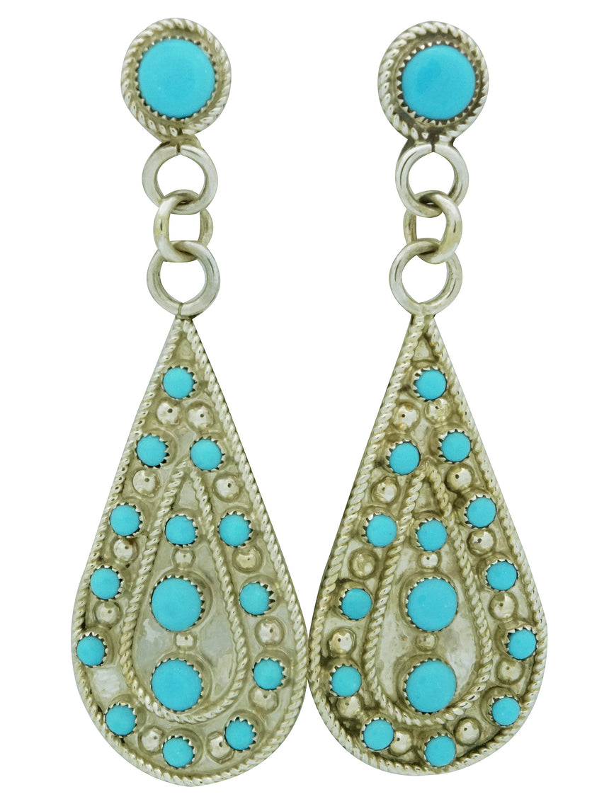 Kevin Hughte, Earrings, Sleeping Beauty Turquoise, Dangle, Zuni Made, 2 7/8