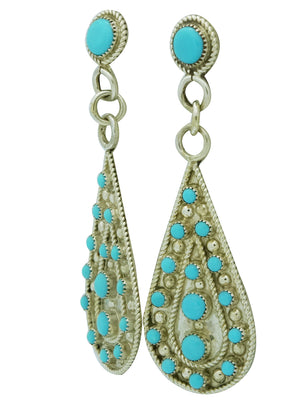 Load image into Gallery viewer, Kevin Hughte, Earrings, Sleeping Beauty Turquoise, Dangle, Zuni Made, 2 7/8""