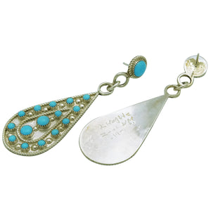 Kevin Hughte, Earrings, Sleeping Beauty Turquoise, Dangle, Zuni Made, 2 7/8""