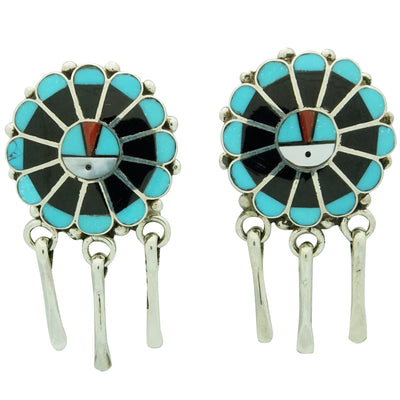 Load image into Gallery viewer, Delbert Soseeah, Earring, Dangles, Sunface, Multi Stone Inlay, Zuni Made, 1 1/2""