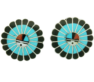 Burdian Soseeah, Earrings, Post, Multi Stone Inlay, Zuni Handmade, 1 1/4""